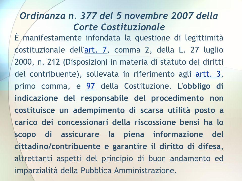 Ordinanza n. 377 del 5 novembre 2007 della Corte Costituzionale