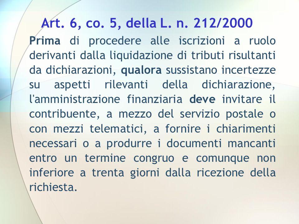 Art. 6, co. 5, della L. n. 212/2000