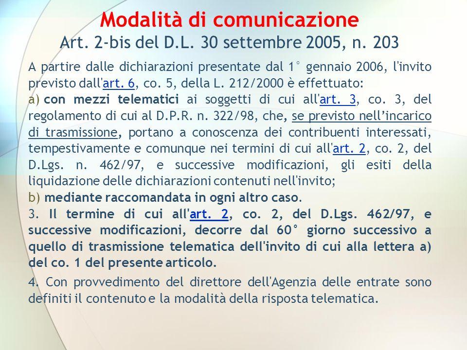 Modalità di comunicazione Art. 2-bis del D. L. 30 settembre 2005, n