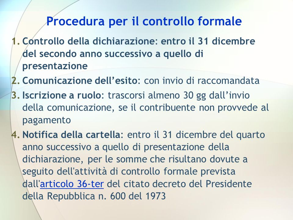 Procedura per il controllo formale