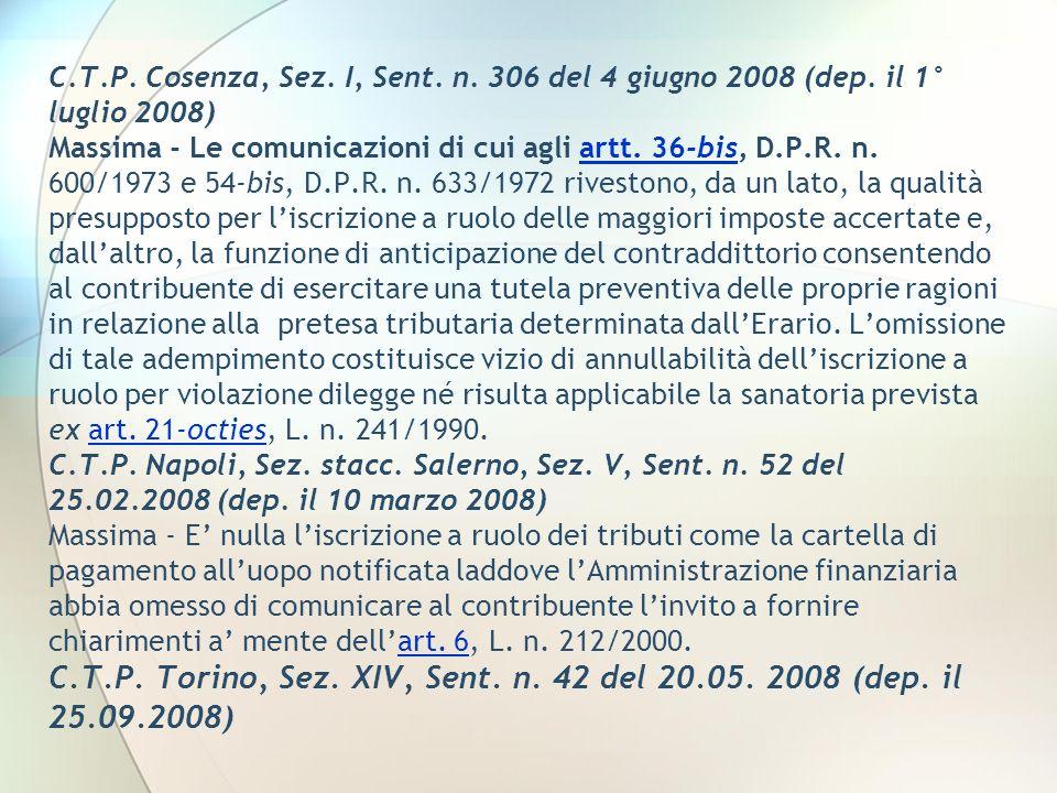 C. T. P. Cosenza, Sez. I, Sent. n. 306 del 4 giugno 2008 (dep