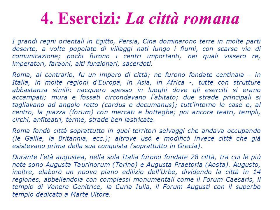 4. Esercizi: La città romana