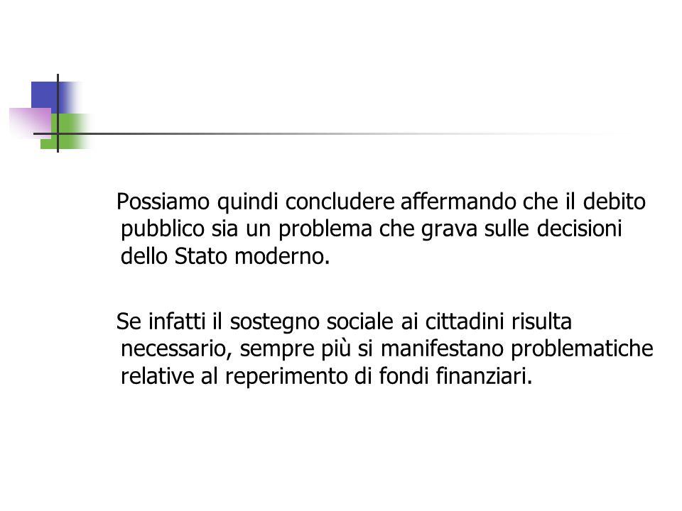 Possiamo quindi concludere affermando che il debito pubblico sia un problema che grava sulle decisioni dello Stato moderno.