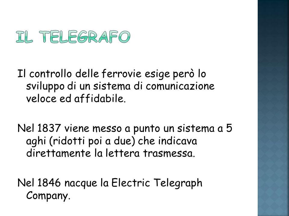 Il telegrafo Il controllo delle ferrovie esige però lo sviluppo di un sistema di comunicazione veloce ed affidabile.