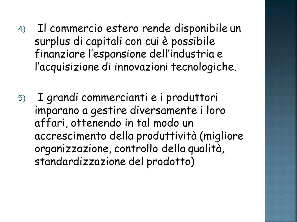 Il commercio estero rende disponibile un surplus di capitali con cui è possibile finanziare l'espansione dell'industria e l'acquisizione di innovazioni tecnologiche.