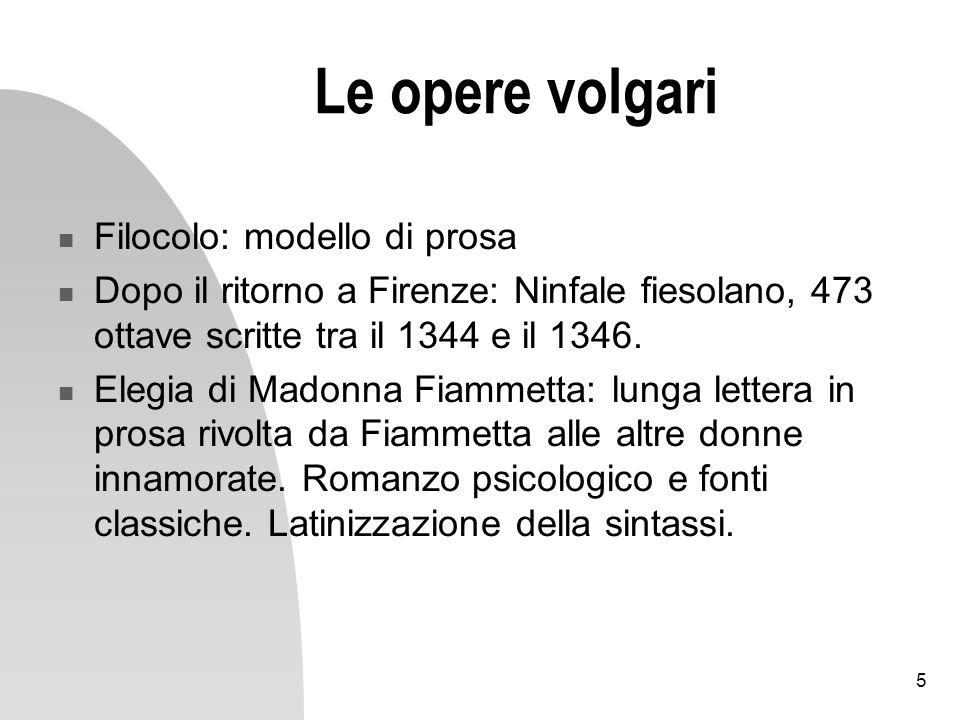 Le opere volgari Filocolo: modello di prosa