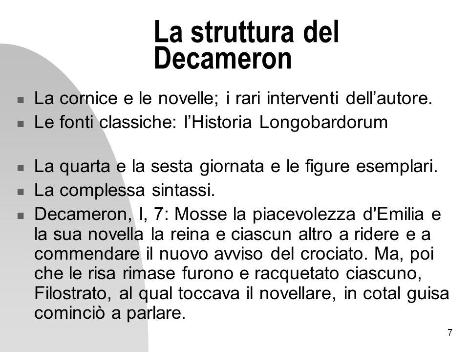 La struttura del Decameron