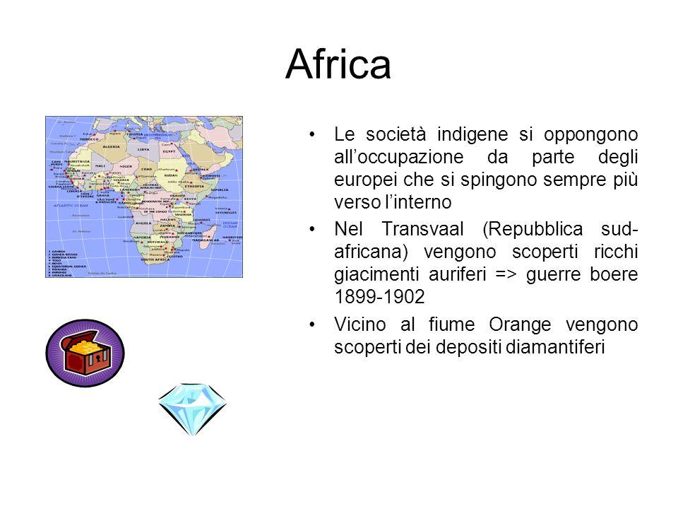 AfricaLe società indigene si oppongono all'occupazione da parte degli europei che si spingono sempre più verso l'interno.