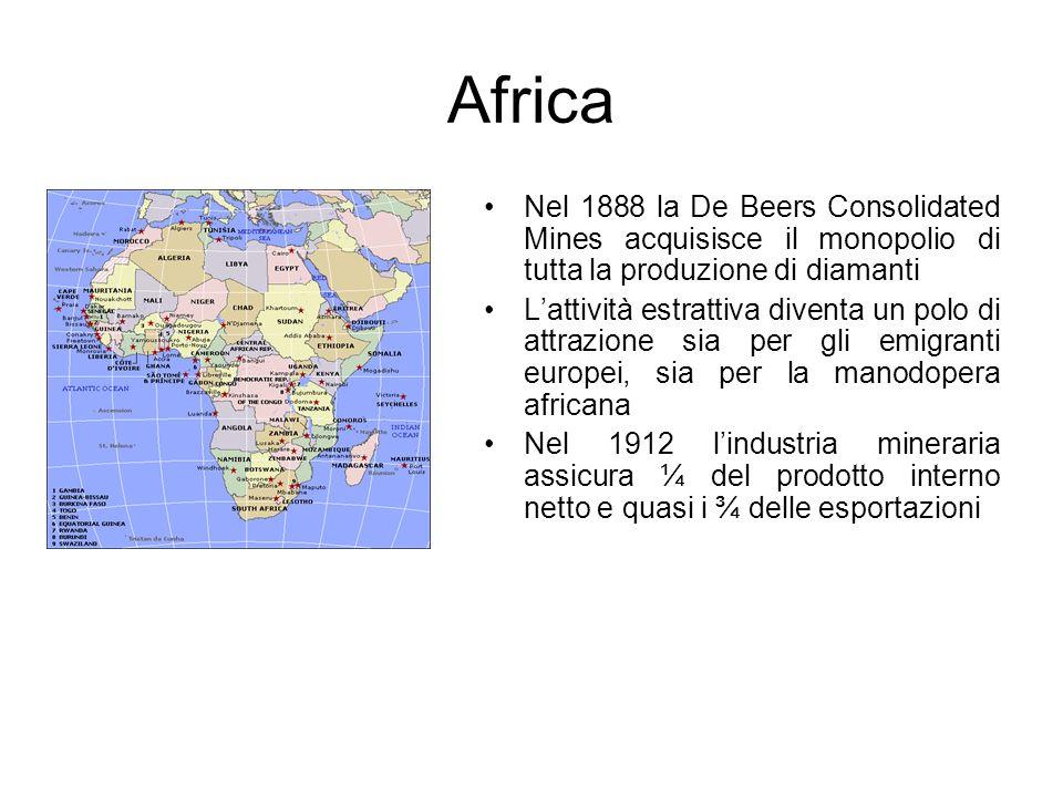 Africa Nel 1888 la De Beers Consolidated Mines acquisisce il monopolio di tutta la produzione di diamanti.