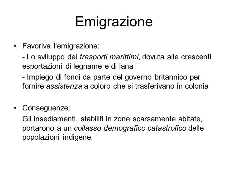 Emigrazione Favoriva l'emigrazione: