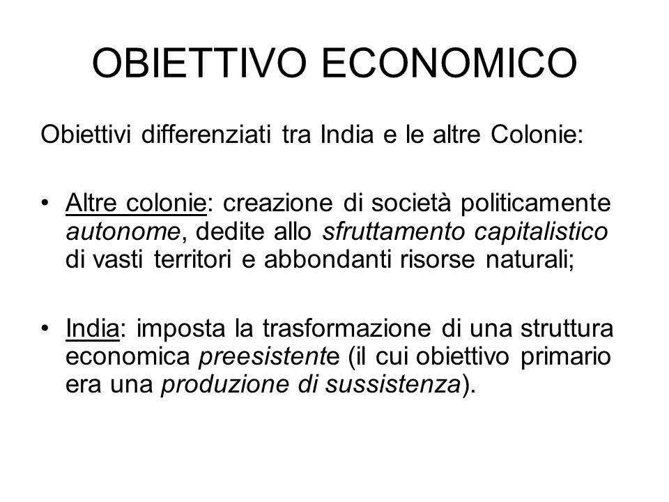 OBIETTIVO ECONOMICOObiettivi differenziati tra India e le altre Colonie: