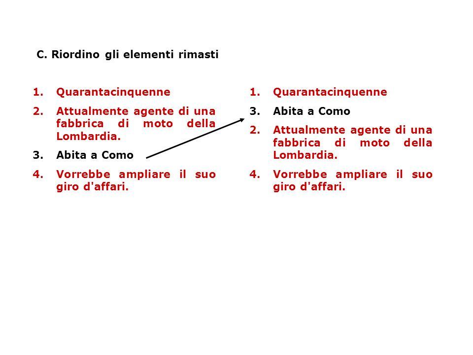 C. Riordino gli elementi rimasti