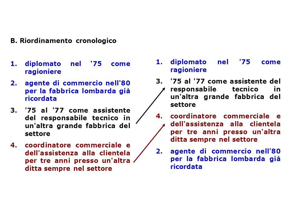 B. Riordinamento cronologico