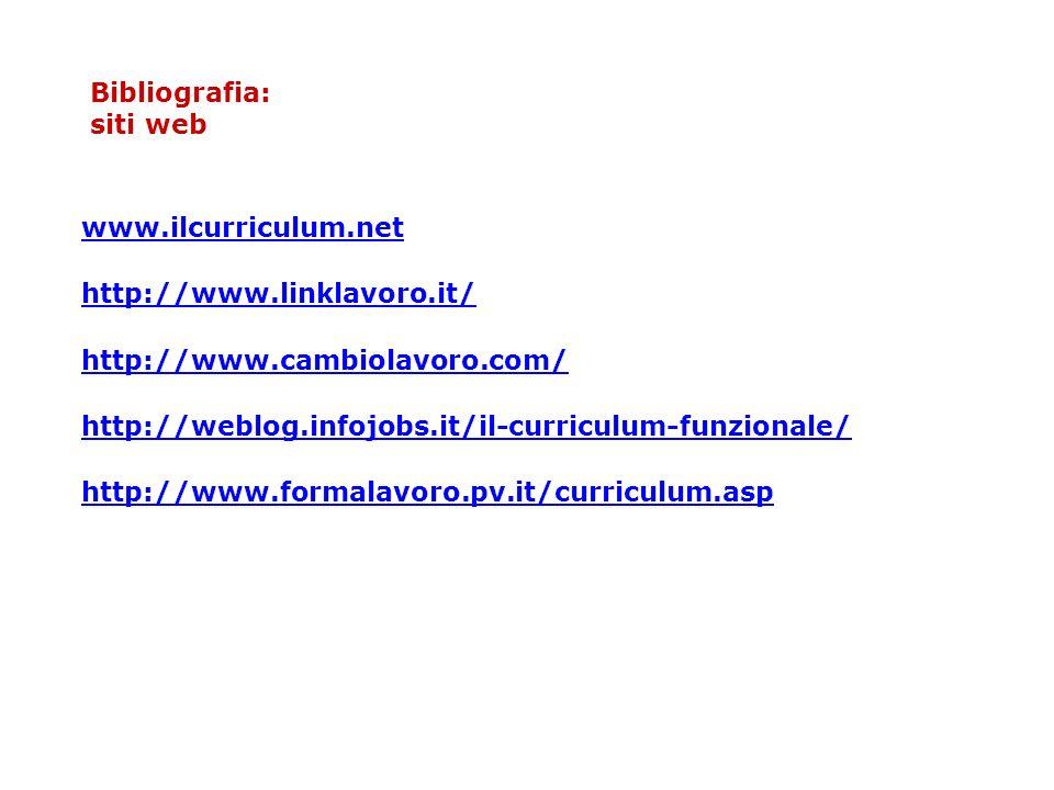 Bibliografia: siti web