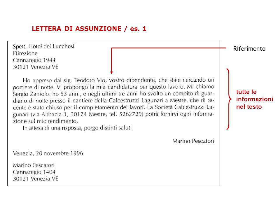 LETTERA DI ASSUNZIONE / es. 1