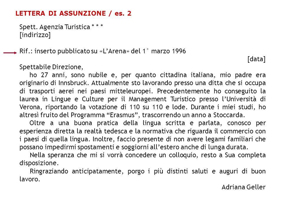 LETTERA DI ASSUNZIONE / es. 2