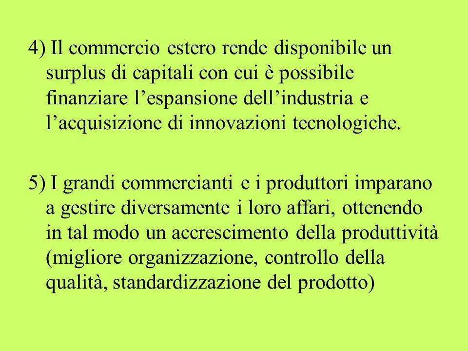 4) Il commercio estero rende disponibile un surplus di capitali con cui è possibile finanziare l'espansione dell'industria e l'acquisizione di innovazioni tecnologiche.