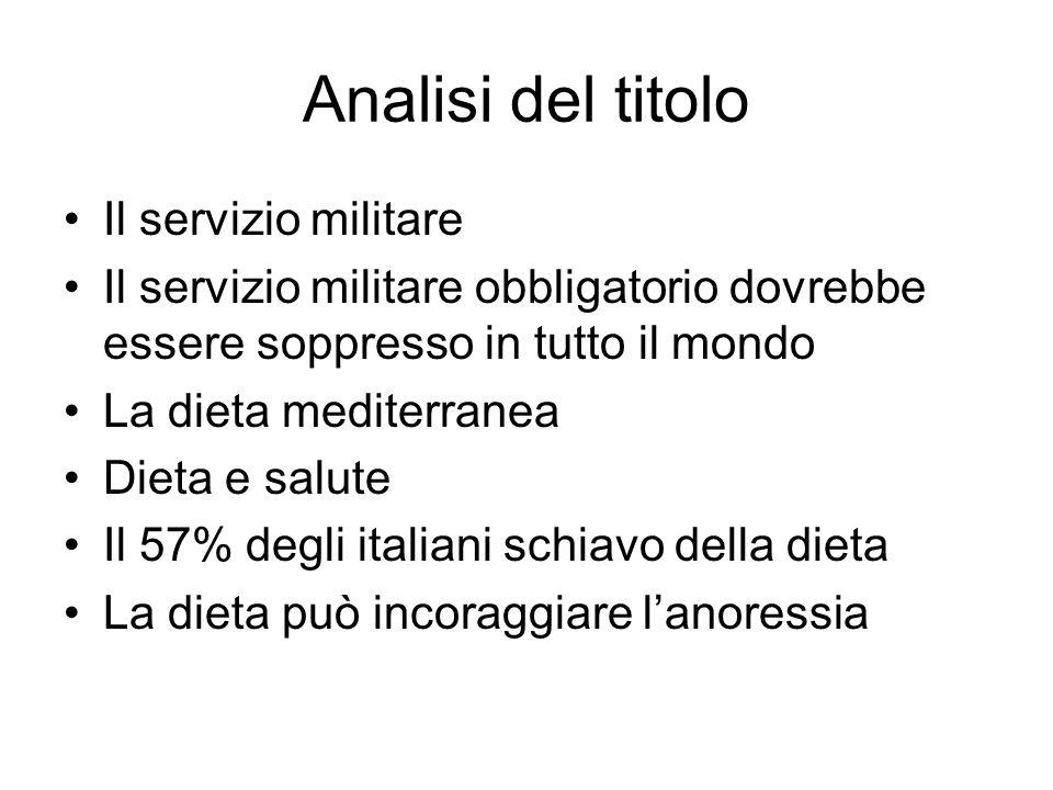 Analisi del titolo Il servizio militare