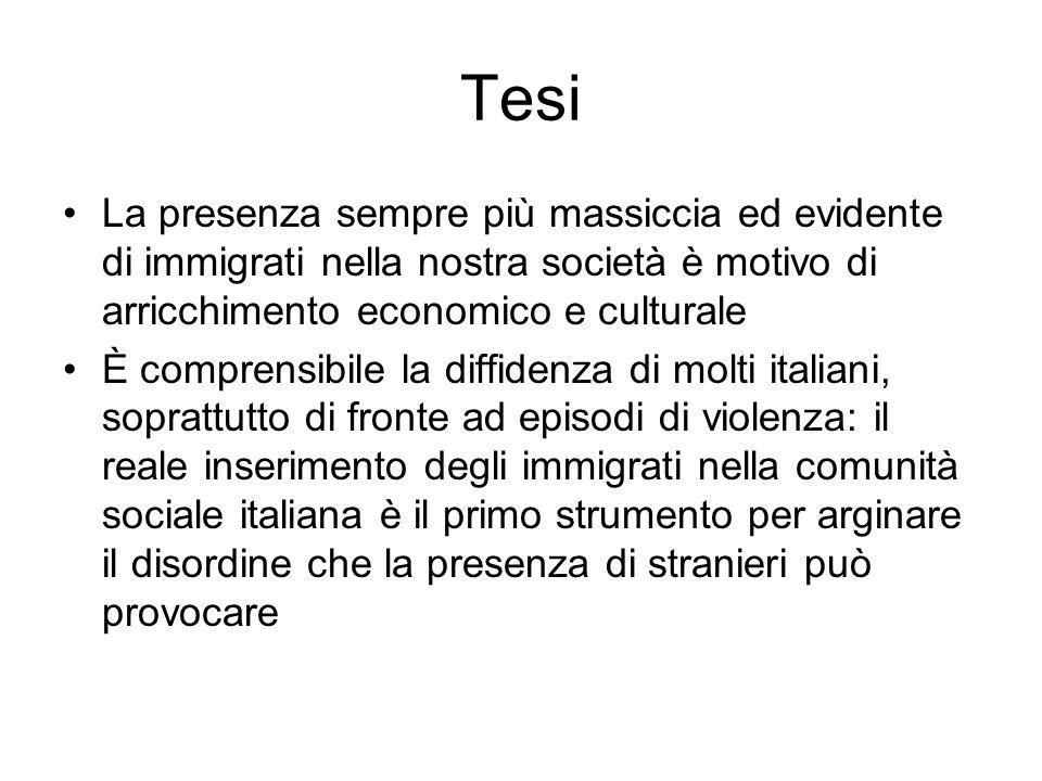 Tesi La presenza sempre più massiccia ed evidente di immigrati nella nostra società è motivo di arricchimento economico e culturale.