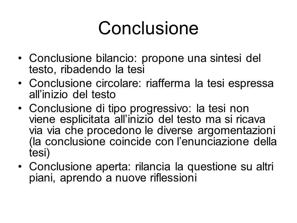Conclusione Conclusione bilancio: propone una sintesi del testo, ribadendo la tesi.