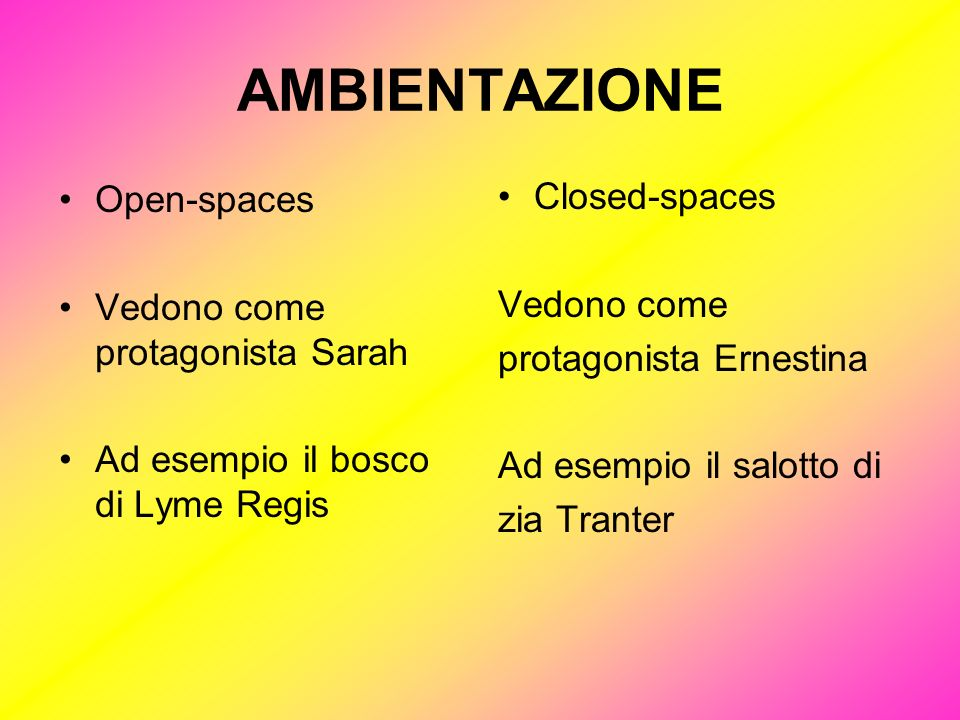 AMBIENTAZIONE Open-spaces Closed-spaces Vedono come protagonista Sarah