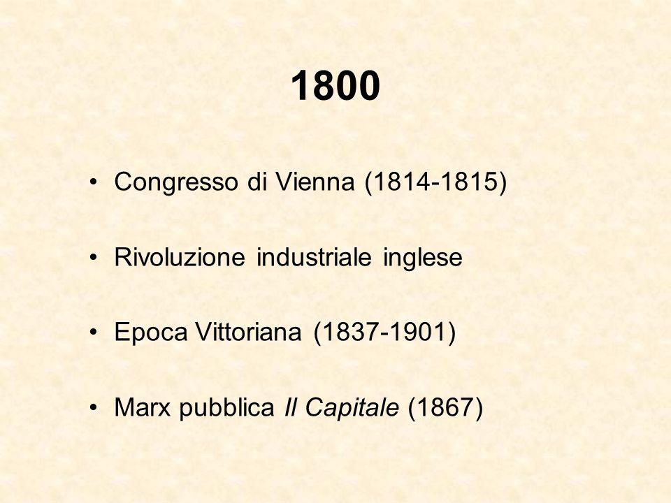 1800 Congresso di Vienna (1814-1815) Rivoluzione industriale inglese