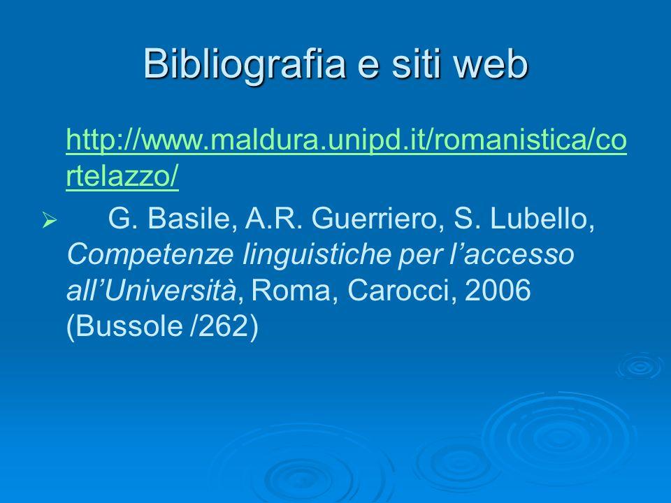 Bibliografia e siti web