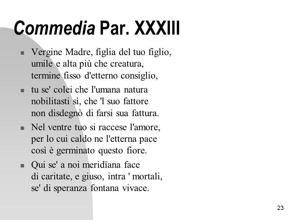 Commedia Par. XXXIII Vergine Madre, figlia del tuo figlio, umile e alta più che creatura, termine fisso d etterno consiglio,