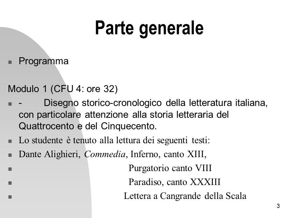 Parte generale Programma Modulo 1 (CFU 4: ore 32)