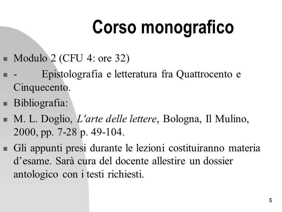 Corso monografico Modulo 2 (CFU 4: ore 32)