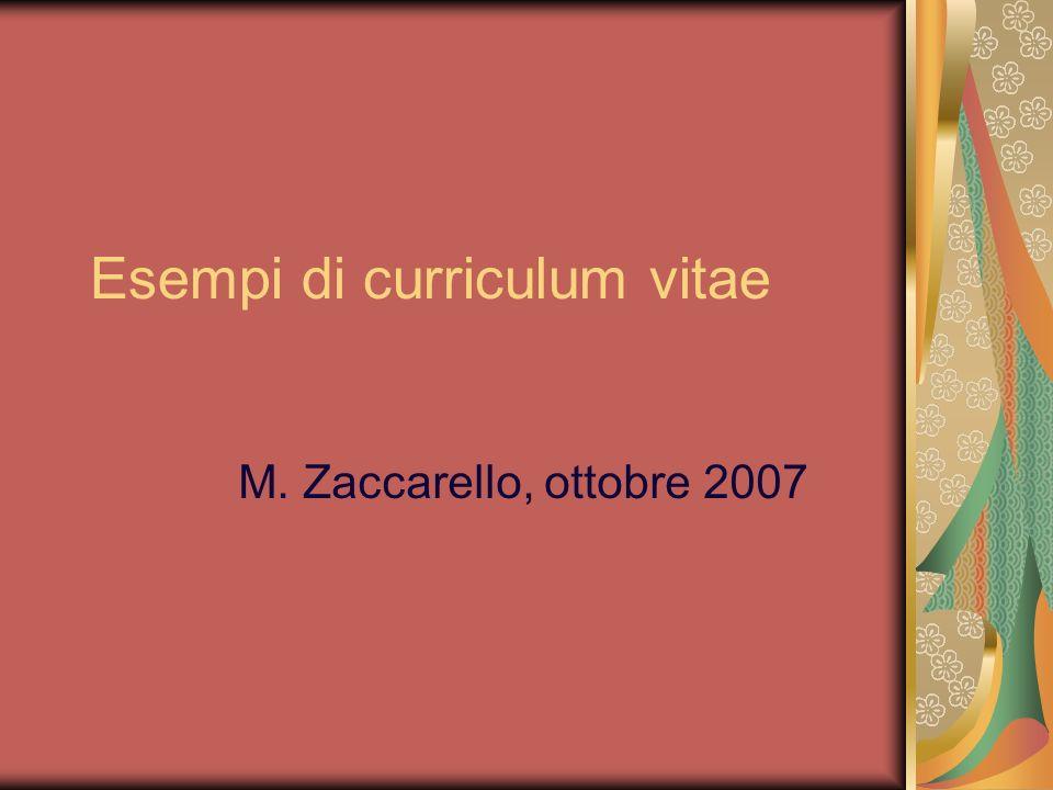 Esempi di curriculum vitae