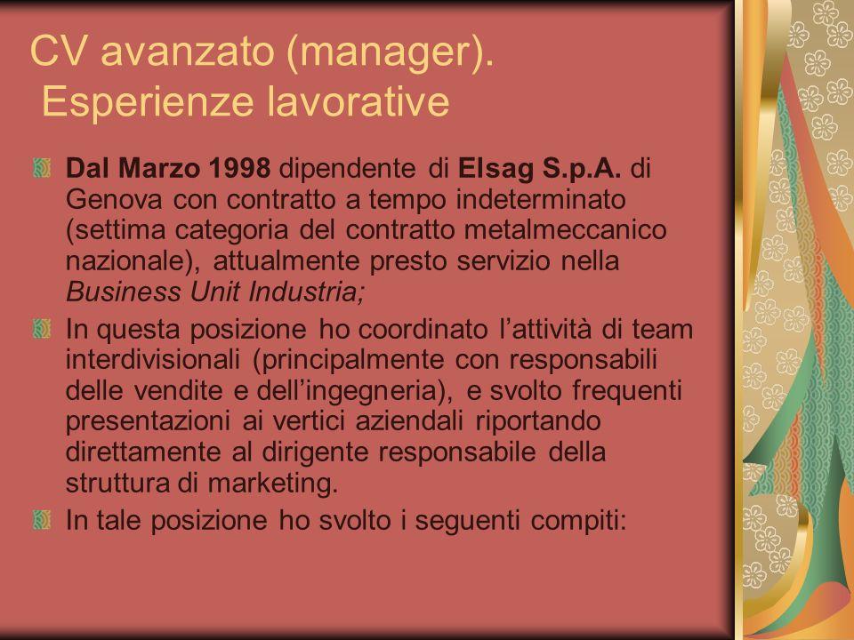 CV avanzato (manager). Esperienze lavorative