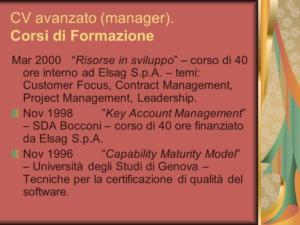 CV avanzato (manager). Corsi di Formazione