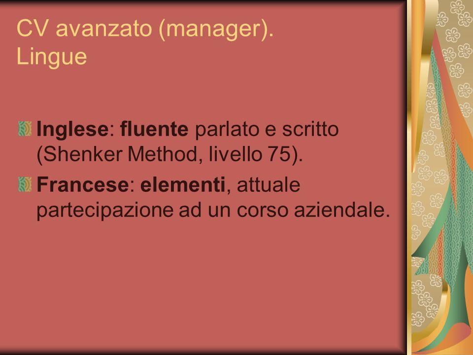 CV avanzato (manager). Lingue