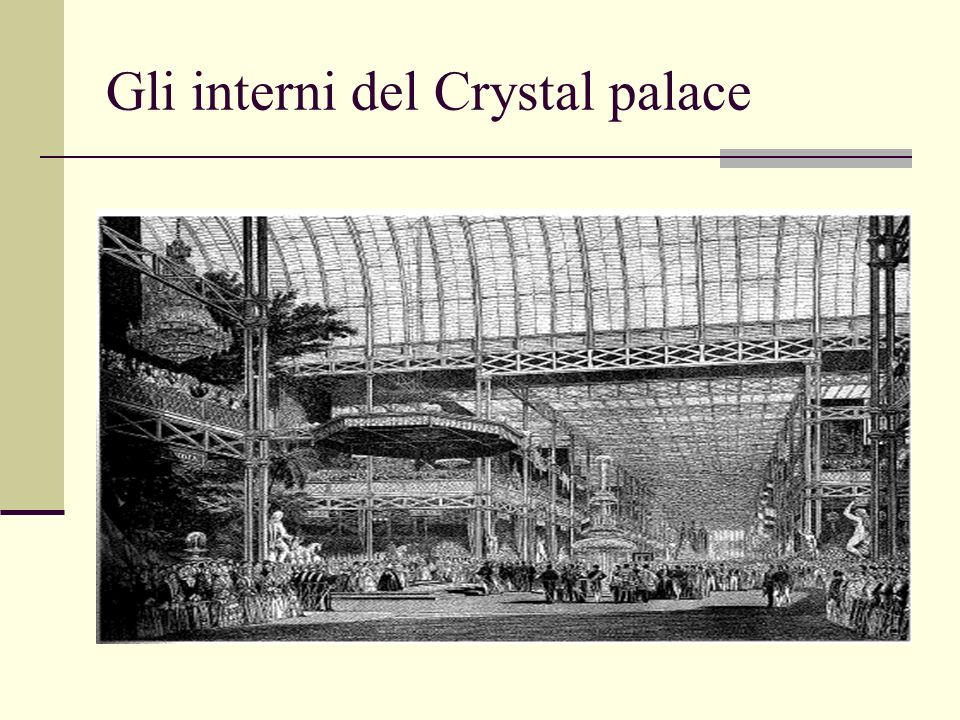 Gli interni del Crystal palace