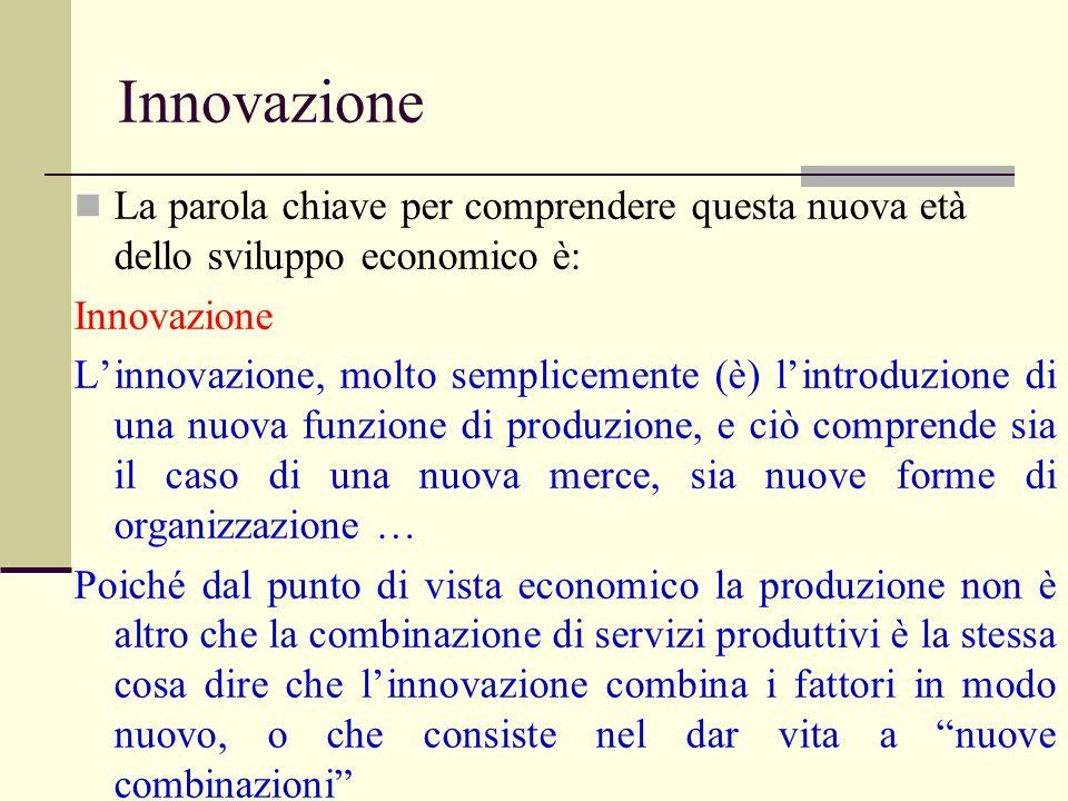 Innovazione La parola chiave per comprendere questa nuova età dello sviluppo economico è: Innovazione.