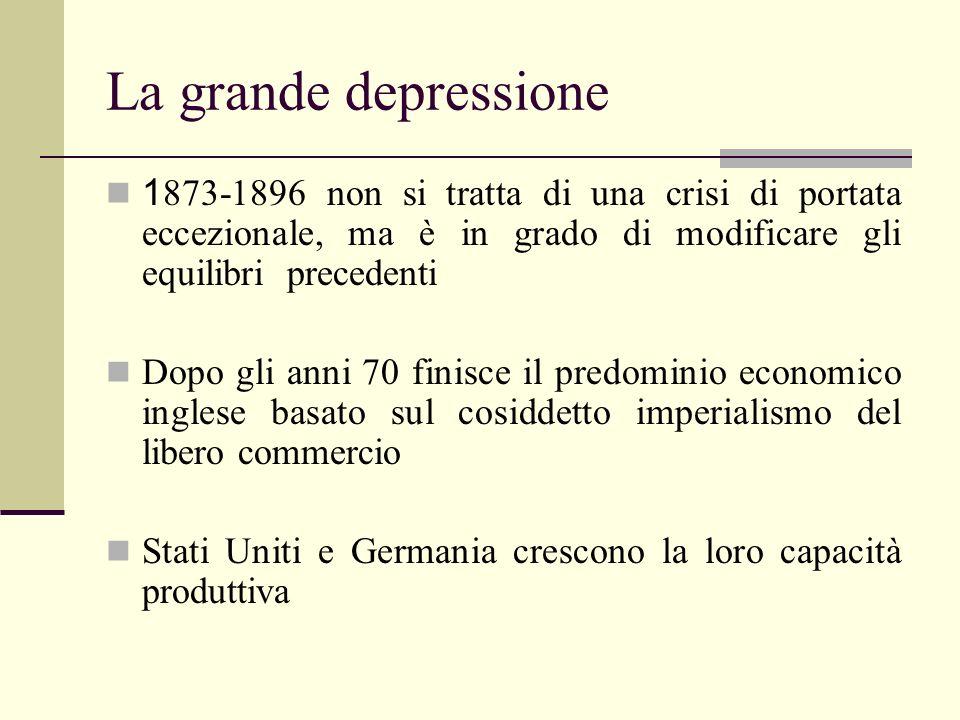 La grande depressione 1873-1896 non si tratta di una crisi di portata eccezionale, ma è in grado di modificare gli equilibri precedenti.