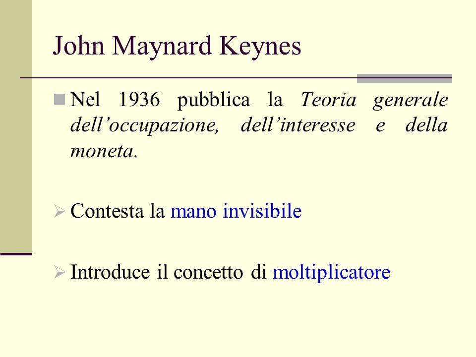 John Maynard Keynes Nel 1936 pubblica la Teoria generale dell'occupazione, dell'interesse e della moneta.