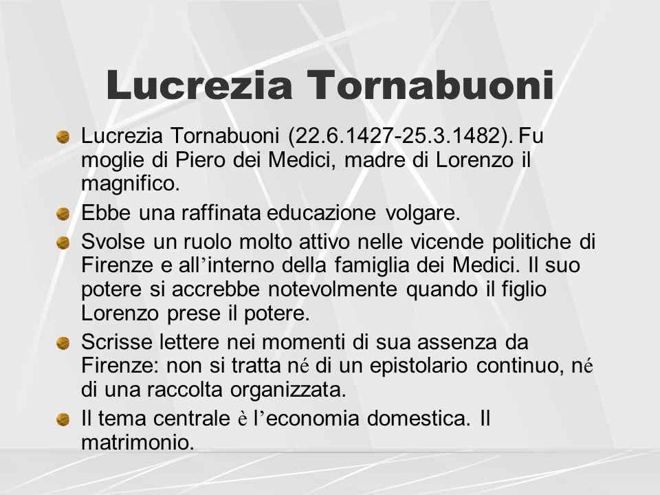 Lucrezia Tornabuoni Lucrezia Tornabuoni (22.6.1427-25.3.1482). Fu moglie di Piero dei Medici, madre di Lorenzo il magnifico.