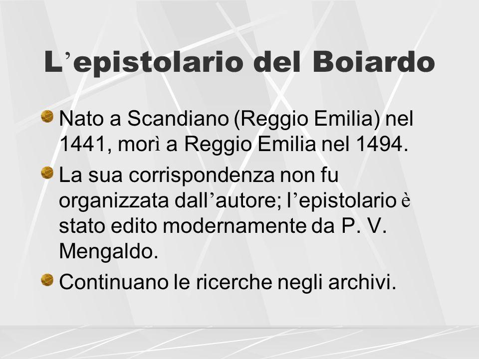 L'epistolario del Boiardo