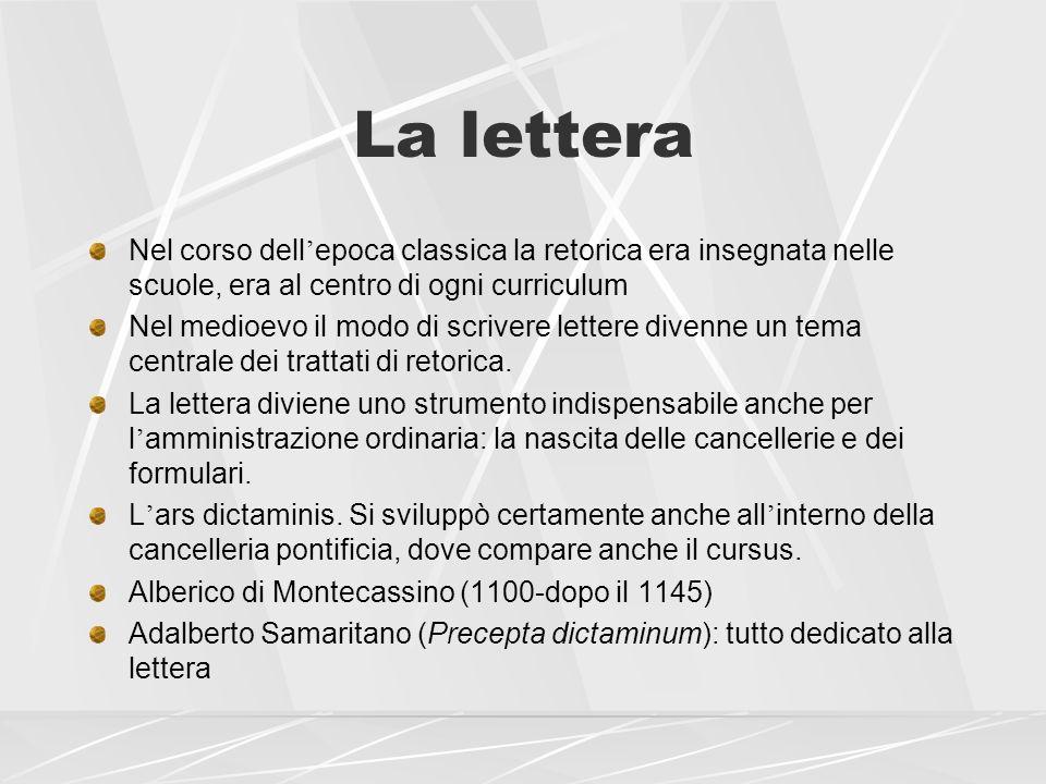 La lettera Nel corso dell'epoca classica la retorica era insegnata nelle scuole, era al centro di ogni curriculum.