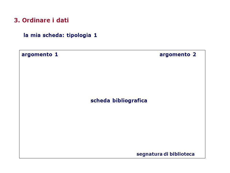 3. Ordinare i dati la mia scheda: tipologia 1 argomento 1 argomento 2