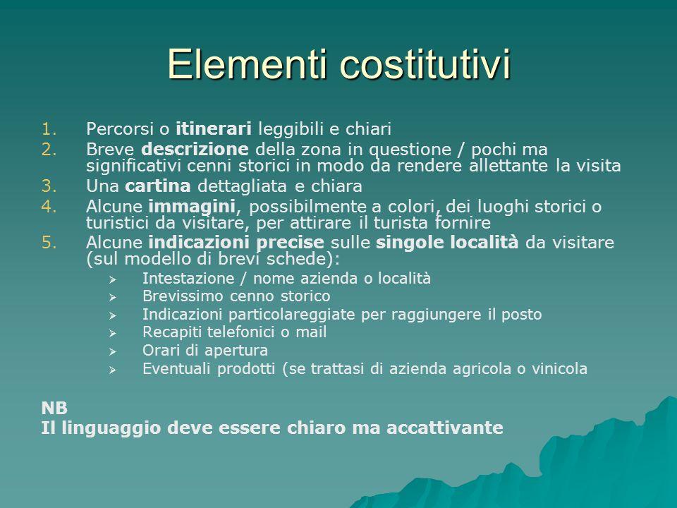 Elementi costitutivi Percorsi o itinerari leggibili e chiari