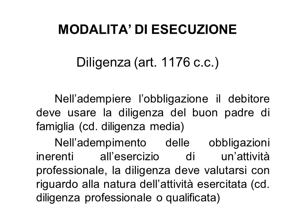 MODALITA' DI ESECUZIONE