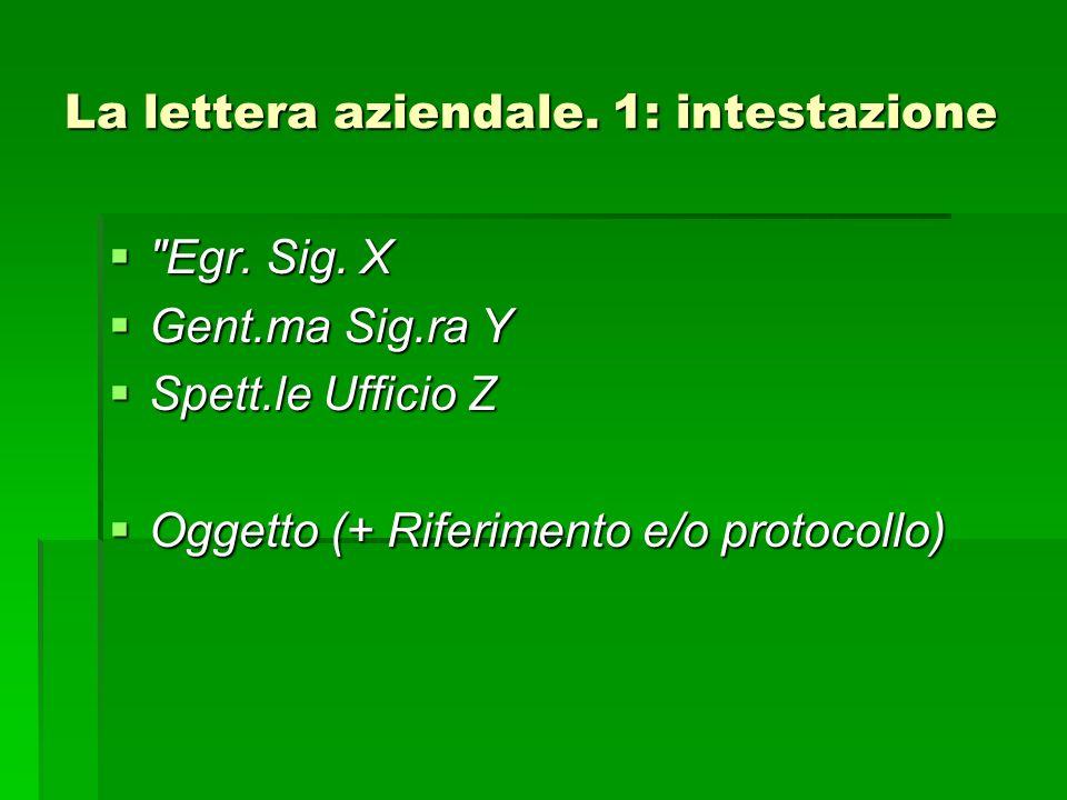 La lettera aziendale. 1: intestazione