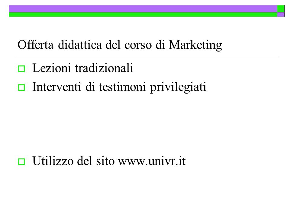 Offerta didattica del corso di Marketing