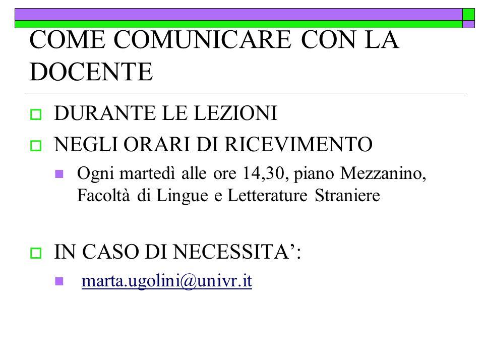 COME COMUNICARE CON LA DOCENTE