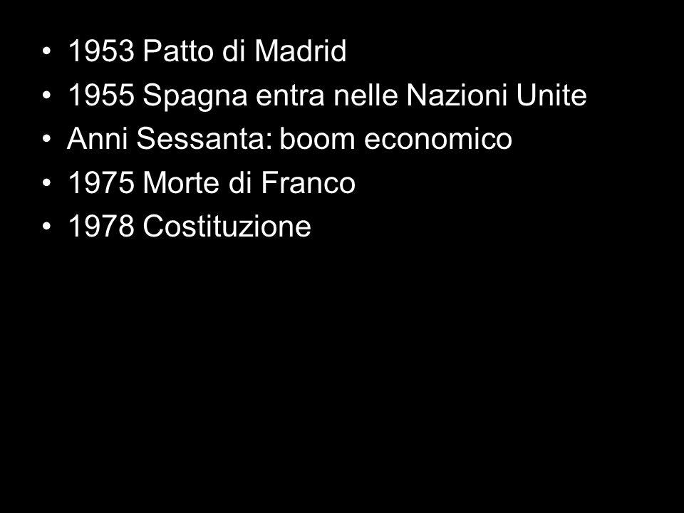 1953 Patto di Madrid 1955 Spagna entra nelle Nazioni Unite. Anni Sessanta: boom economico. 1975 Morte di Franco.