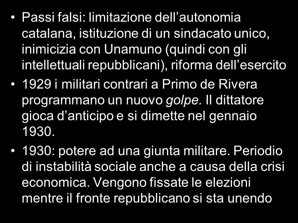 Passi falsi: limitazione dell'autonomia catalana, istituzione di un sindacato unico, inimicizia con Unamuno (quindi con gli intellettuali repubblicani), riforma dell'esercito