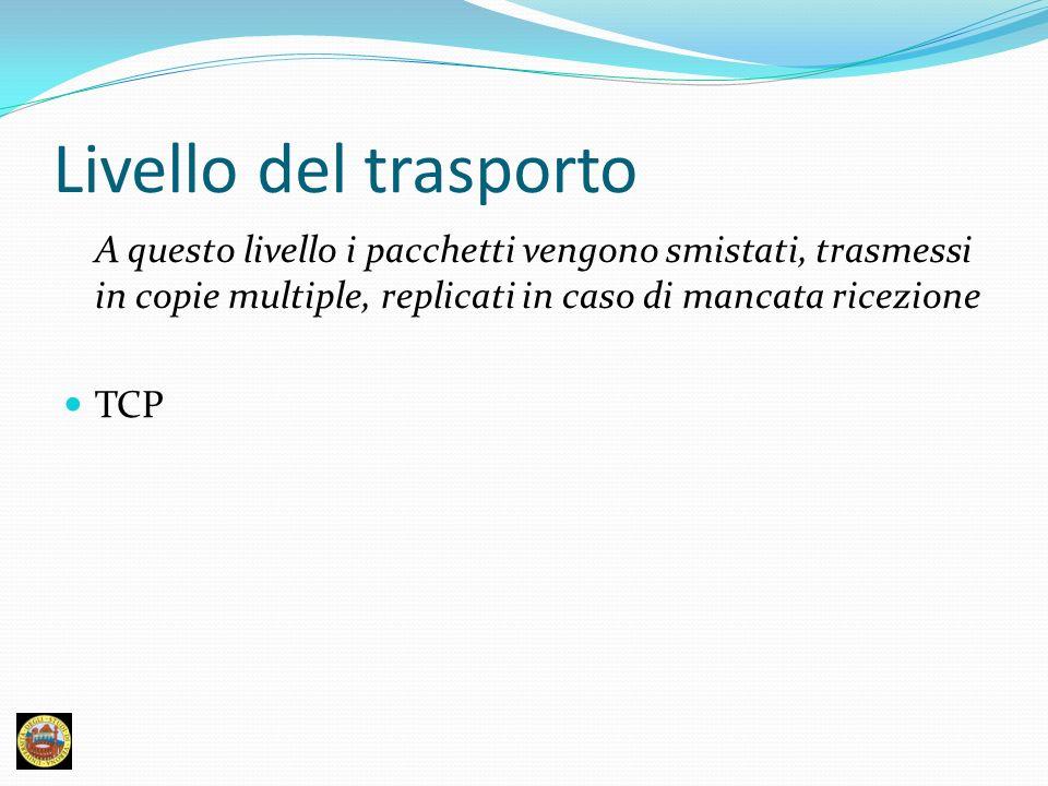 Livello del trasporto A questo livello i pacchetti vengono smistati, trasmessi in copie multiple, replicati in caso di mancata ricezione.